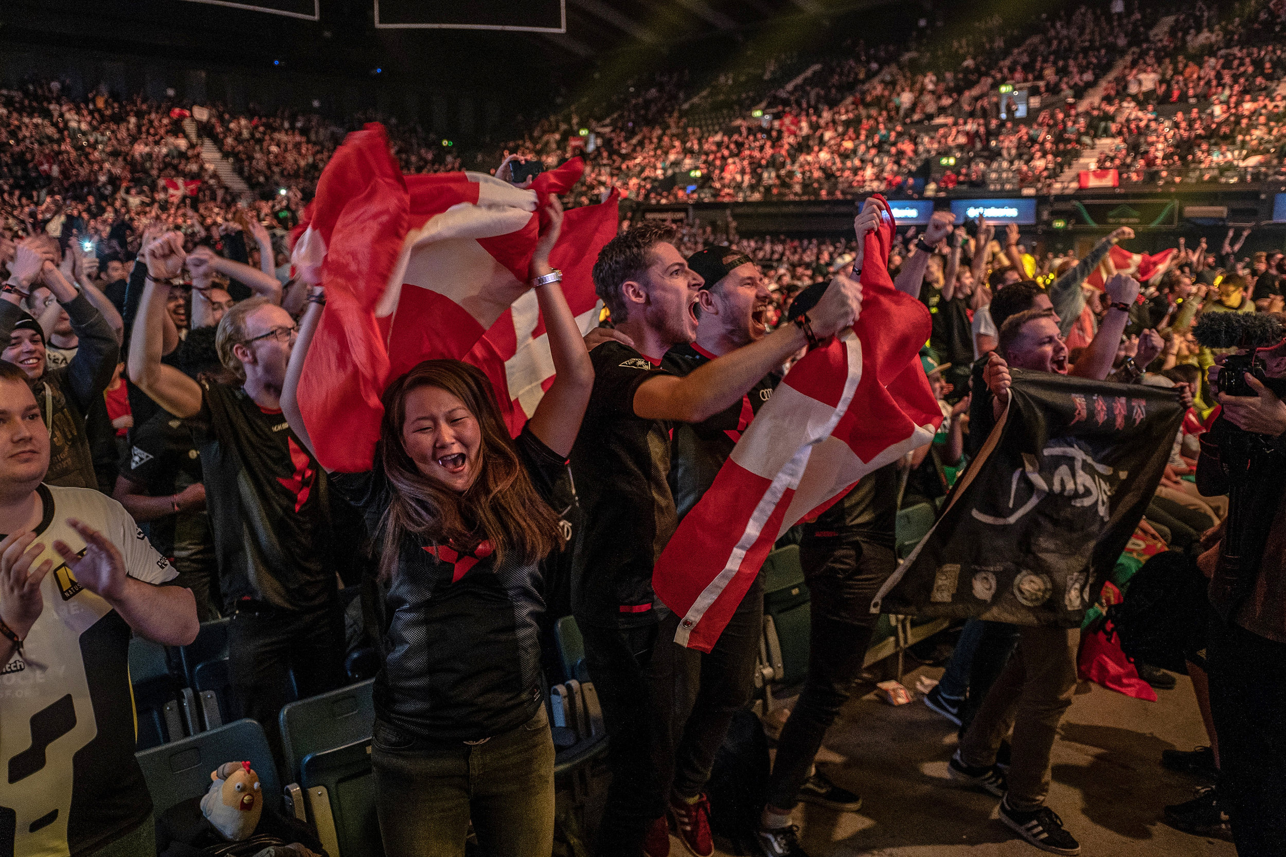 Astralis fans celebrate the victory against Liquid at the FaceIt Major to advance to the finals at The SSE Arena, Wembley on September 22, 2018 in London, England.  Photo by Kieran Gibbs / ESPAT Media