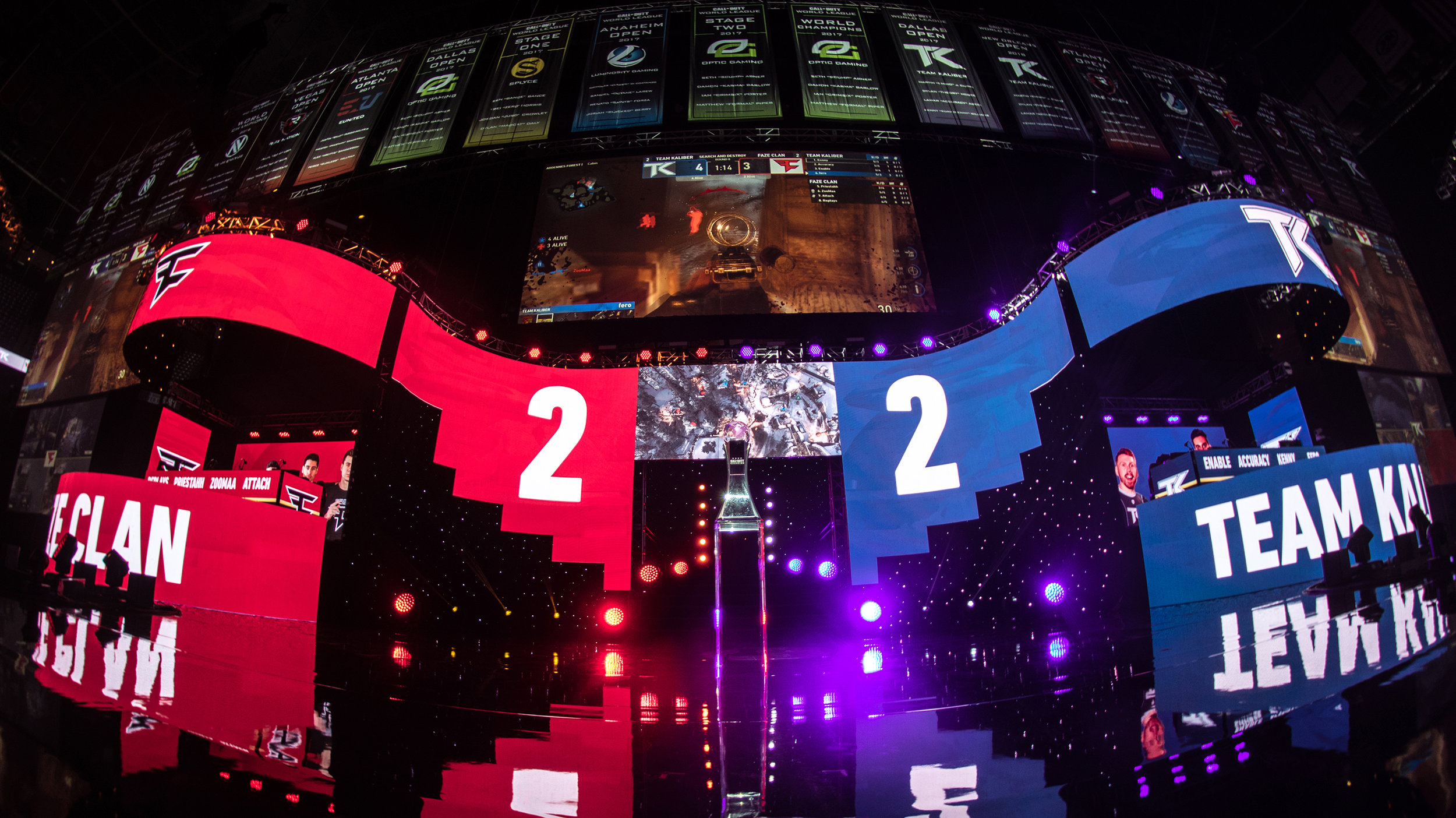 Team Kaliber and FaZe Clan all tied up (2-2) at 2018 Call of Duty World League Championship at Nationwide Arena on August 19, 2018 in Columbus, Ohio.  Photo by Eric Ananmalay / ESPAT Media