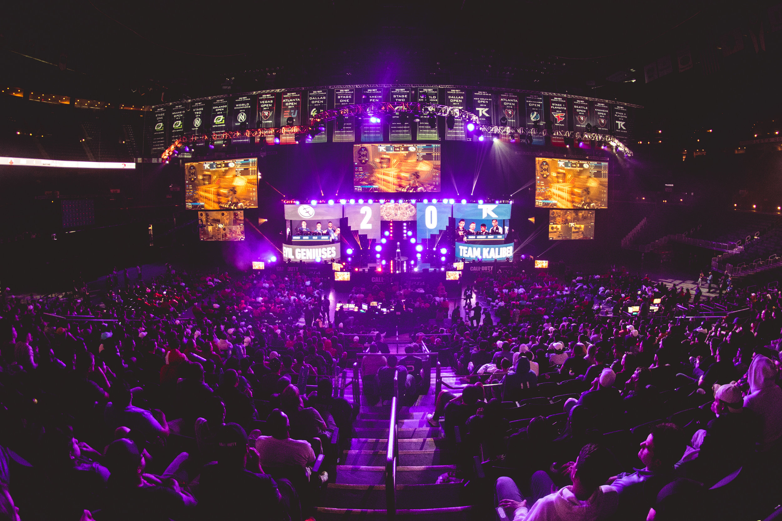 Crowd watching the final showdown between EvilGeniuses vs. Team Kaliber at 2018 Call of Duty World League Championship at Nationwide Arena on August 19, 2018 in Columbus, Ohio.  Photo by Eric Ananmalay / ESPAT Media