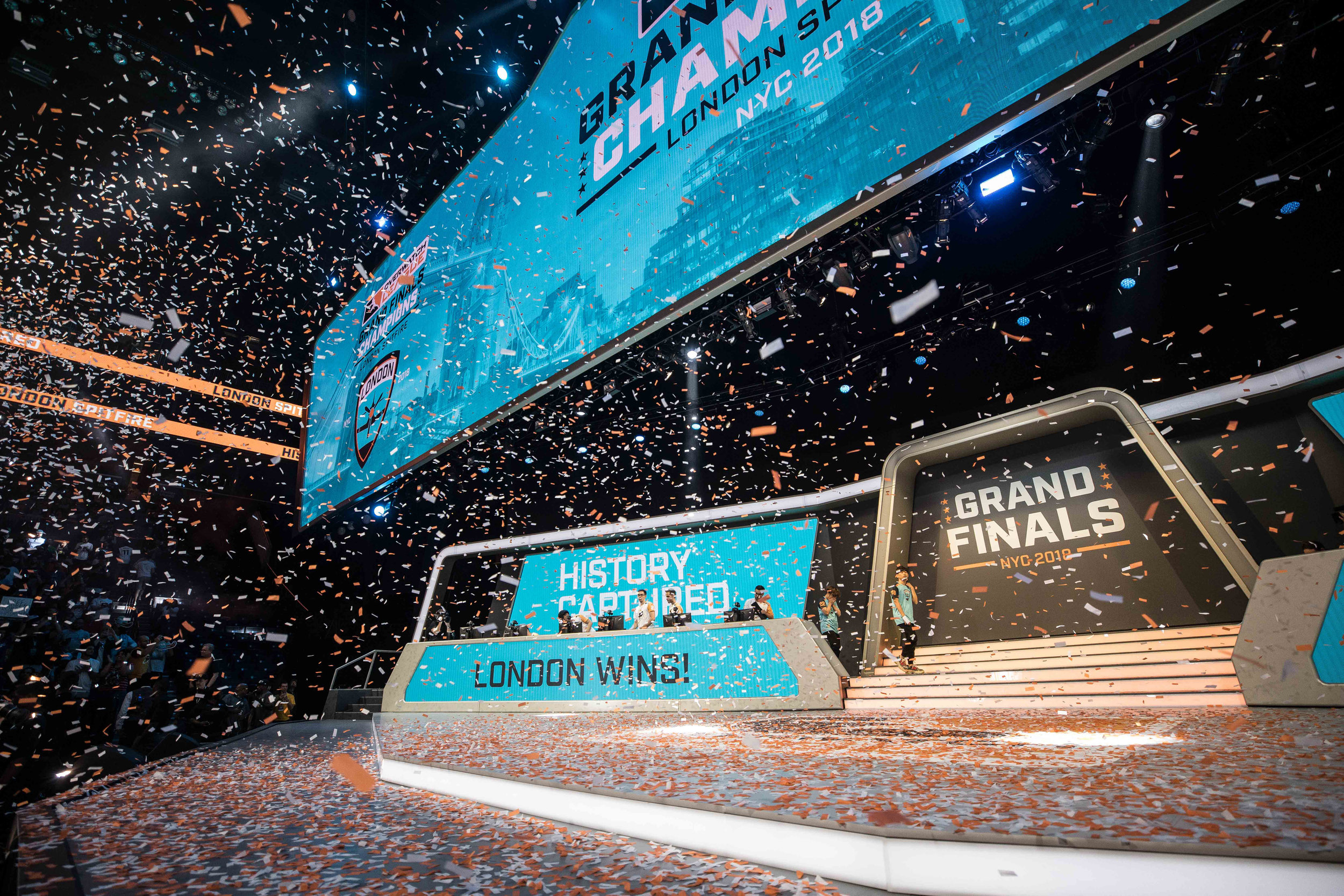 Overwatch League Grand Finals, celebrating London Spitfire'u2019s championship win onstage with players and confetti at Barclays Center on July 27, 2018 in Brooklyn, New York.  Photo by Hannah Smith / ESPAT Media
