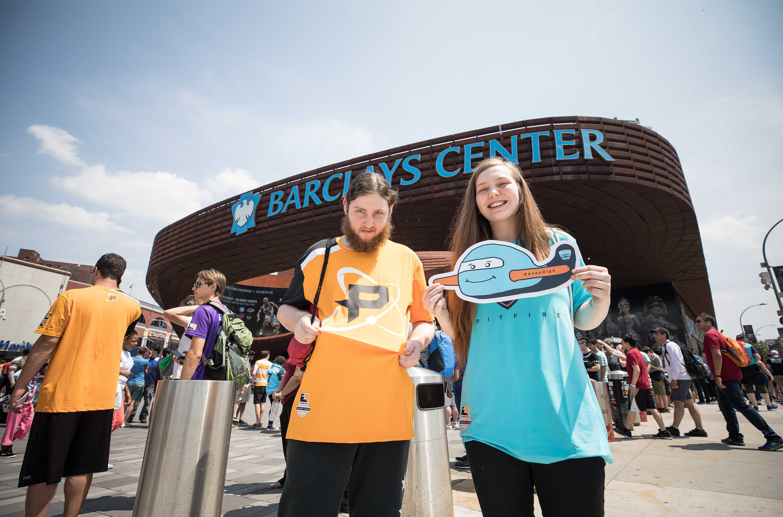 Overwatch League Grand Finals, fans in front of arena showing their support for London Spitfire and Philadelphia Fusion at Barclays Center on July 27, 2018 in Brooklyn, New York.  Photo by Hannah Smith / ESPAT Media