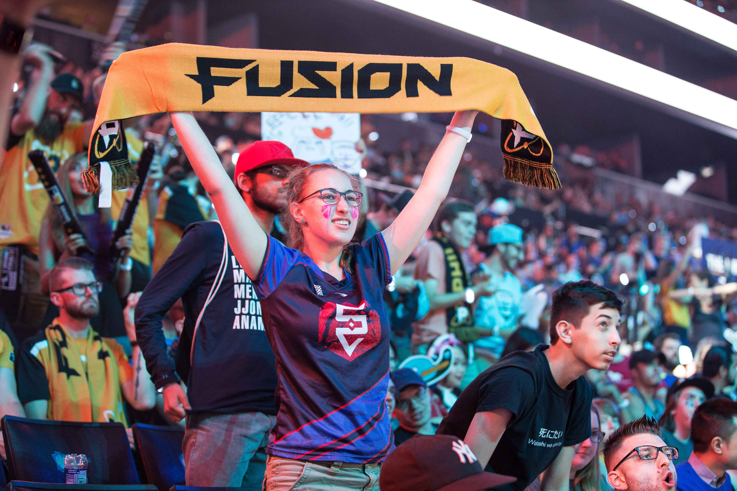 Overwatch League Grand Finals, fan displaying Philadelphia Fusion colors at Barclays Center on July 27, 2018 in Brooklyn, New York.  Photo by Hannah Smith / ESPAT Media