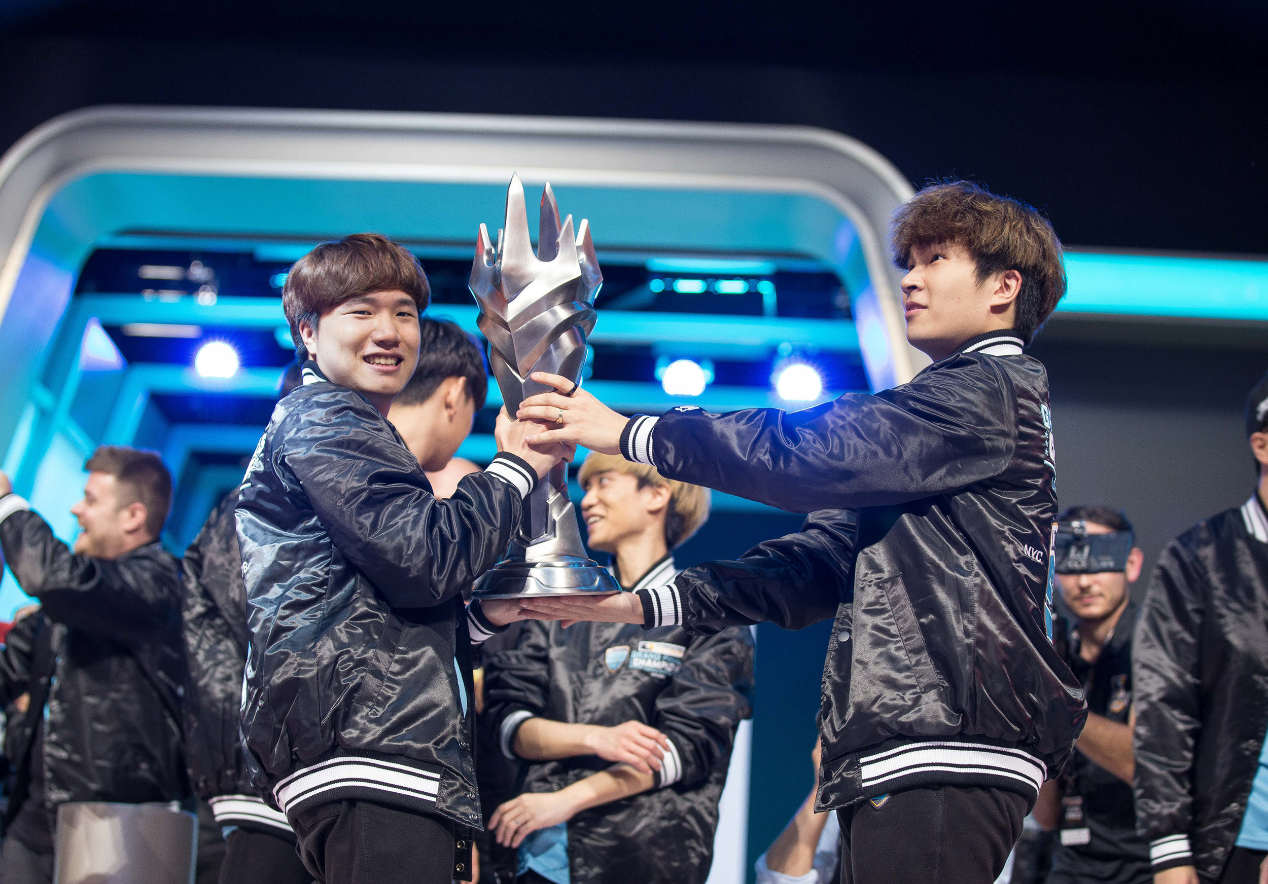 Overwatch League Grand Finals, London Spitfire players hoist championship throphy after win over Philadelphia Fusion at Barclays Center on July 27, 2018 in Brooklyn, New York.  Photo by Hannah Smith / ESPAT Media