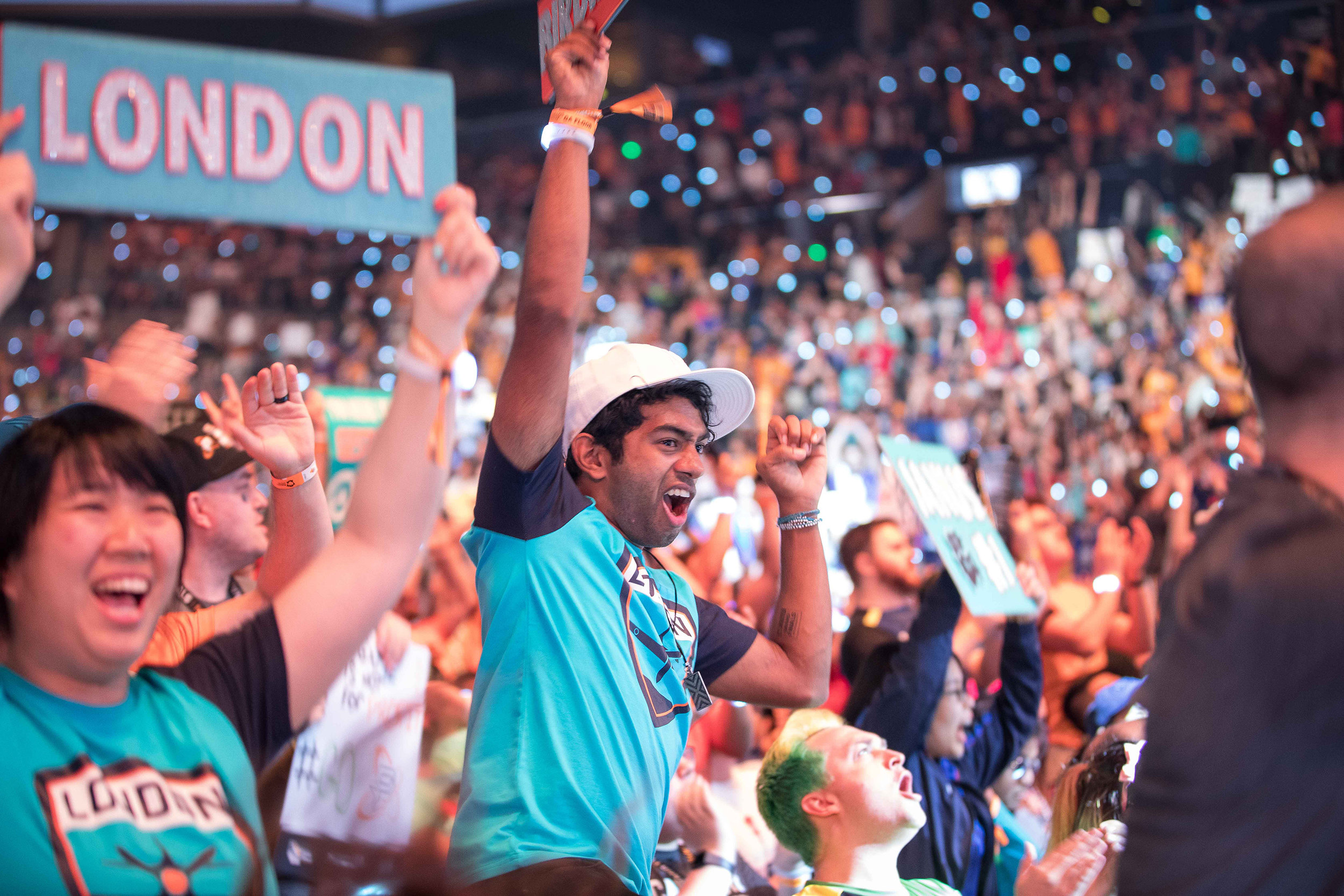 Overwatch League Grand Finals, London Spitfire fans going wild after championship win over Philadelphia Fusion at Barclays Center on July 27, 2018 in Brooklyn, New York.  Photo by Hannah Smith / ESPAT Media