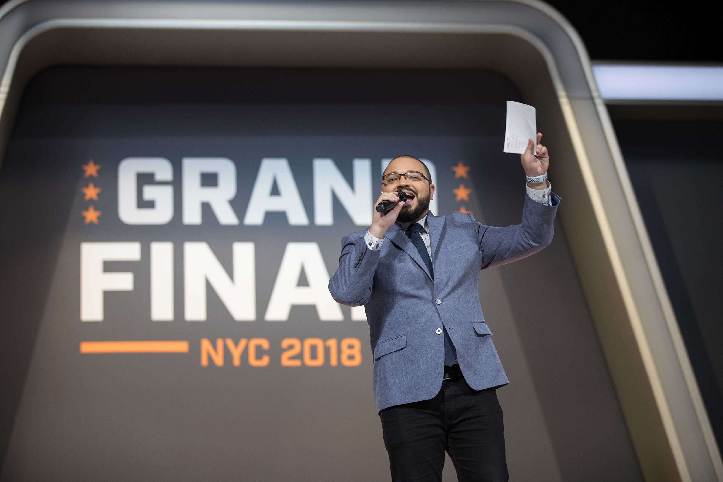 Overwatch League Grand Finals, Alex 'Goldenboy' Mendez announcing London Spitfire and Philadelphia Fusion before championship round at Barclays Center on July 27, 2018 in Brooklyn, New York.  Photo by Hannah Smith / ESPAT Media