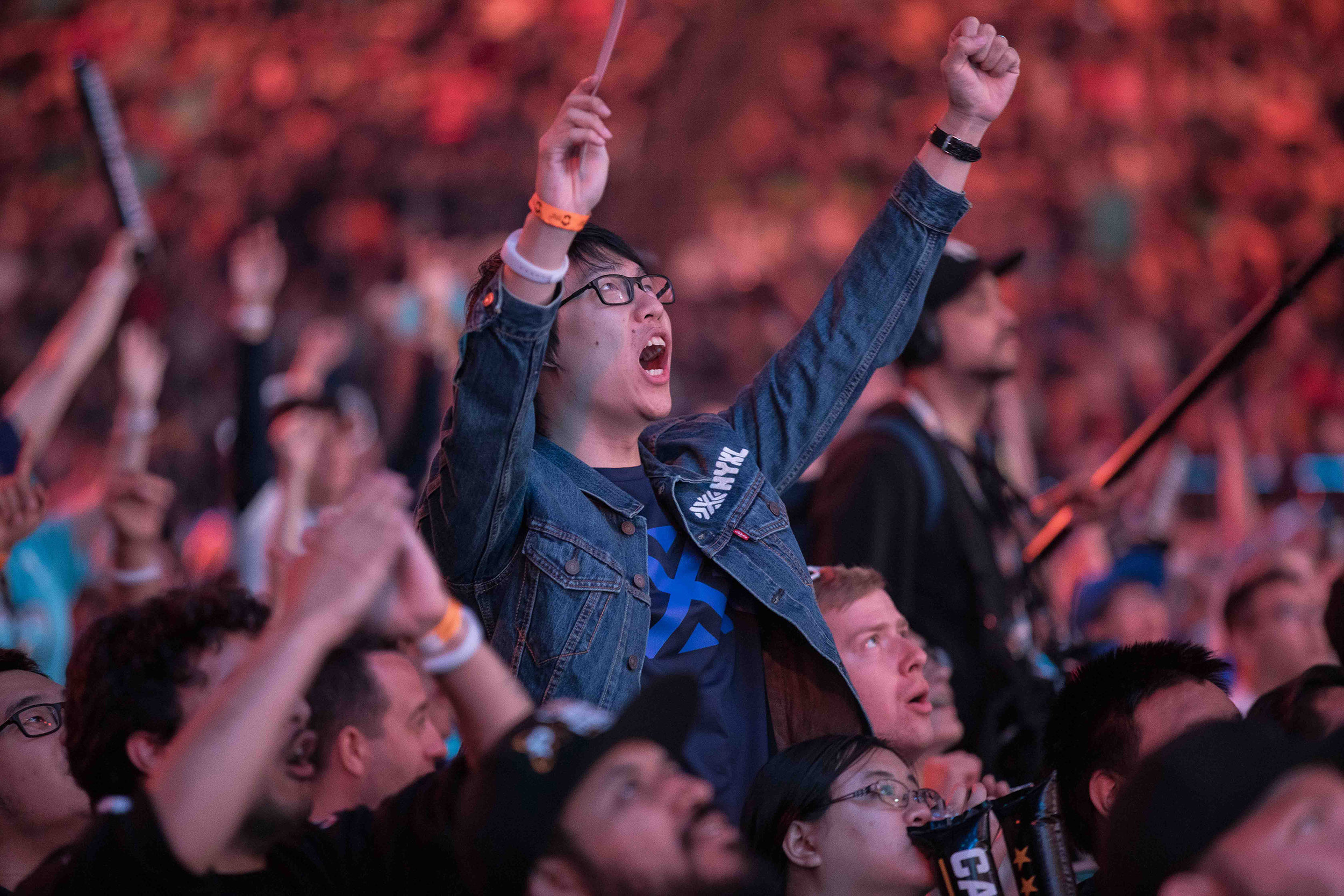 Overwatch League Grand Finals, fan leting his voice heard during the London Spitfire vs Philadelphia Fusion championship at Barclays Center on July 27, 2018 in Brooklyn, New York.  Photo by Hannah Smith / ESPAT Media