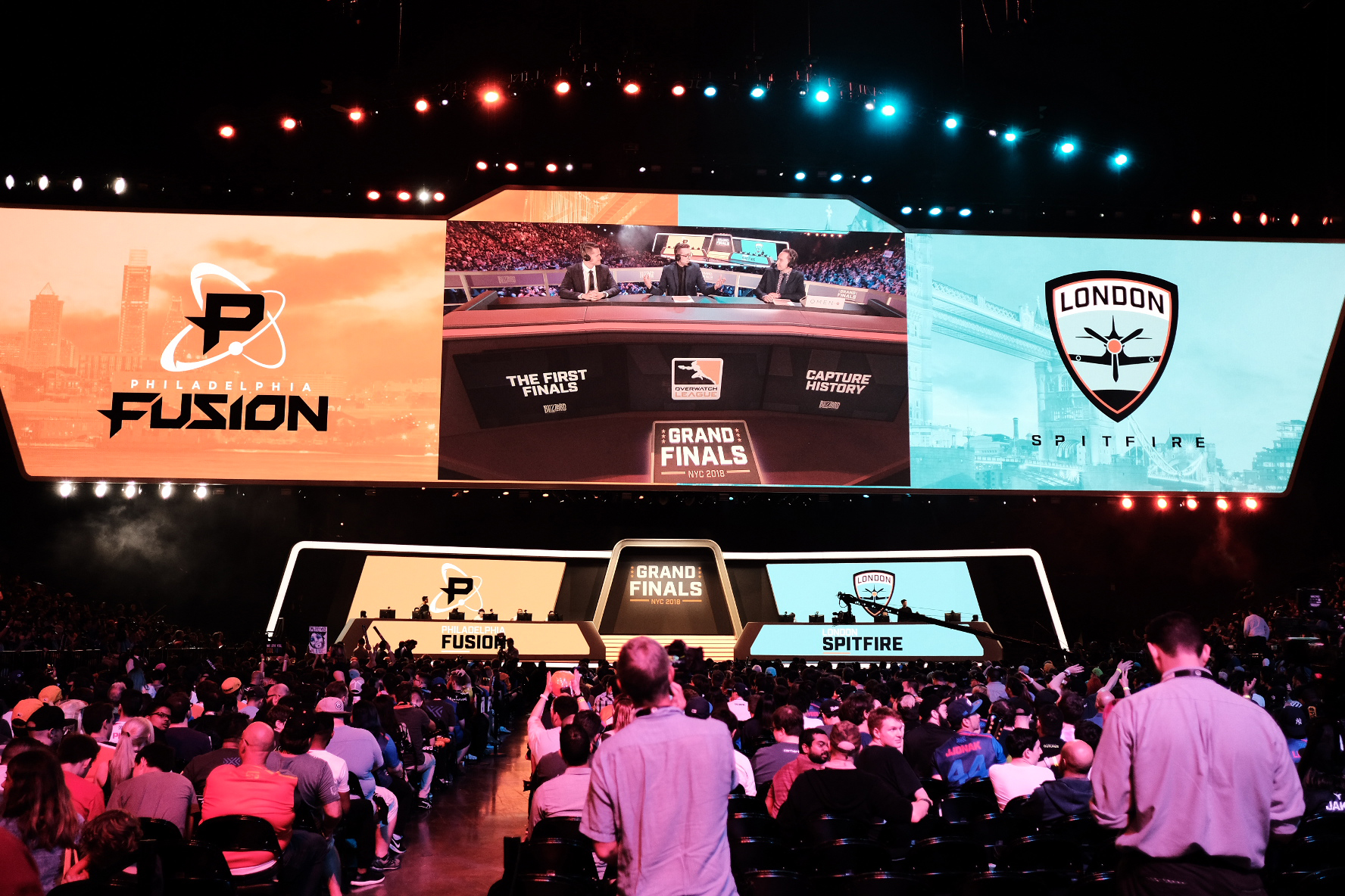 Fans wait for day 1 London Spitfire vs Philadelphia Fusion to begin during the Overwatch League Grand Finals 2018 at Barclays Center on July 27, 2018 in the Brooklyn borough of New York City.  Photo by JD Barnes / ESPAT Media