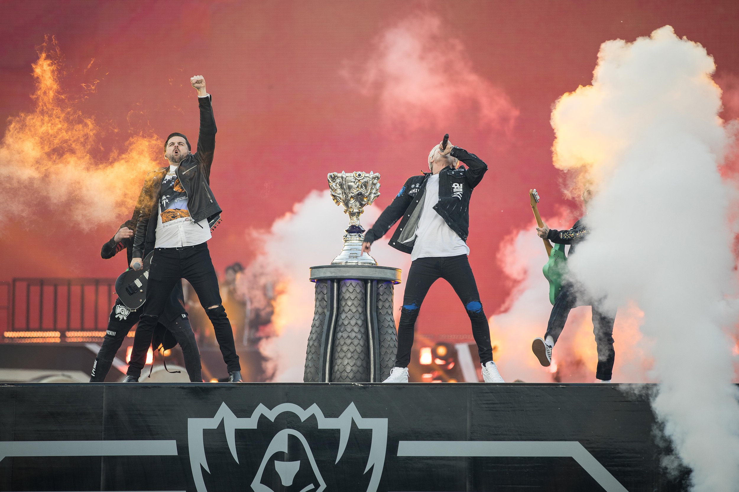 Stage music performance while showcasing trophy at the 2018 League of Legends World Championship sponsored by Mastercard on November 3, 2018 in Incheon, South Korea.  Photo by Hannah Smith/ESPAT Media for Mastercard