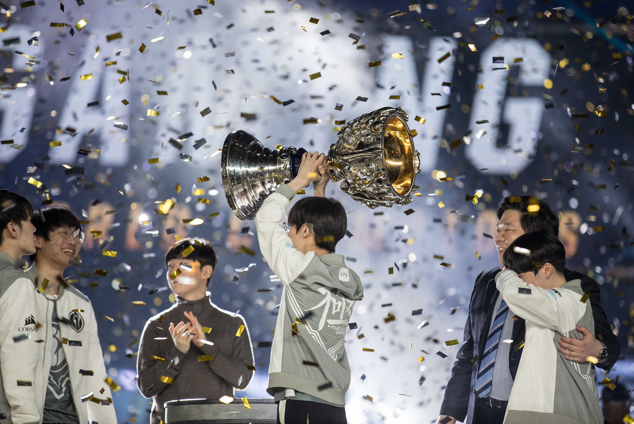 Invictus Gaming wins, hoisting their trophy at 2018 League of Legends World Championship sponsored by Mastercard on November 3, 2018 in Incheon, South Korea.  Photo by Hannah Smith/ESPAT Media for Mastercard