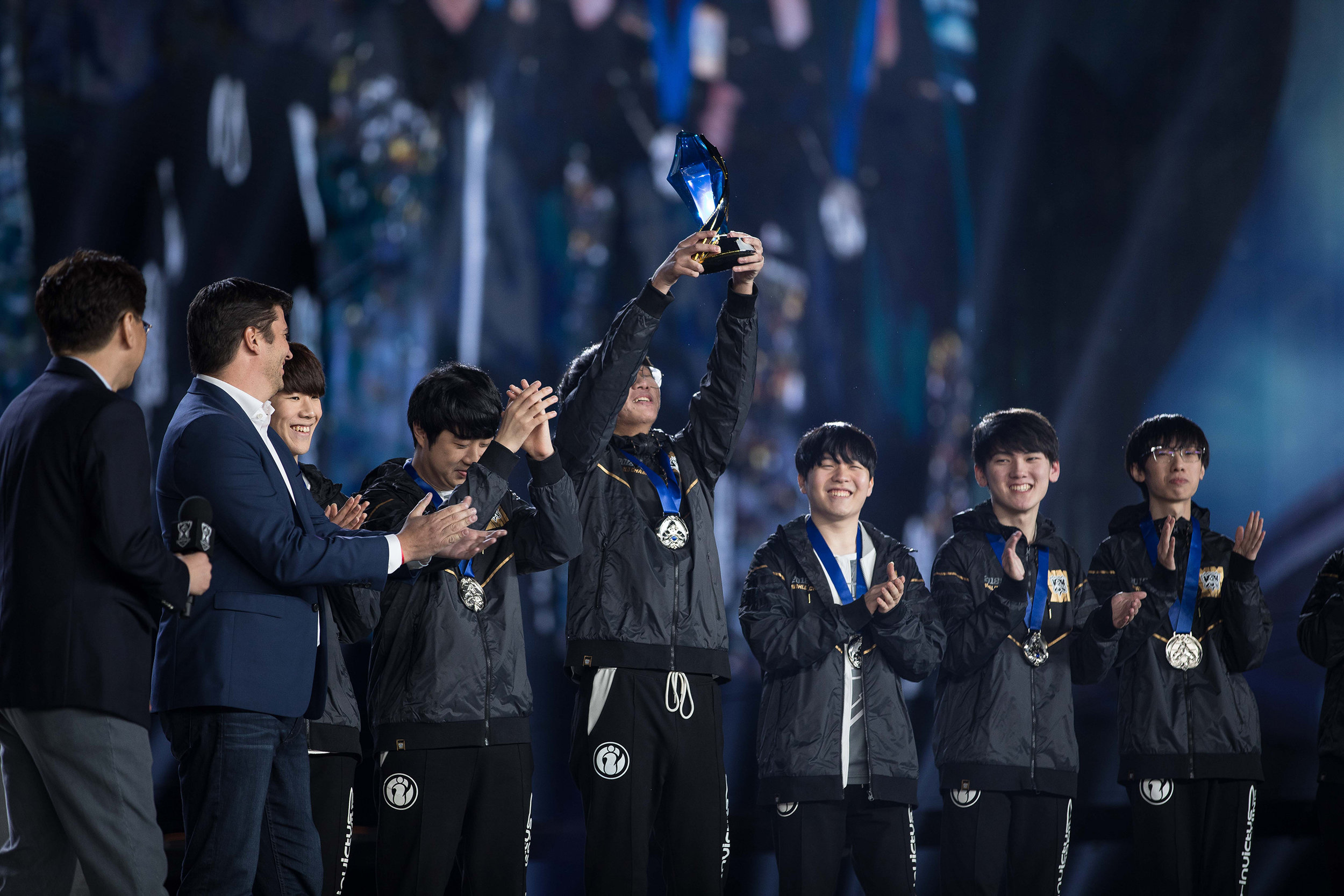 Invictus Gaming players receive their 2018 League of Legends World Championship medals on stage, sponsored by Mastercard on November 3, 2018 in Incheon, South Korea.  Photo by Hannah Smith/ESPAT Media for Mastercard