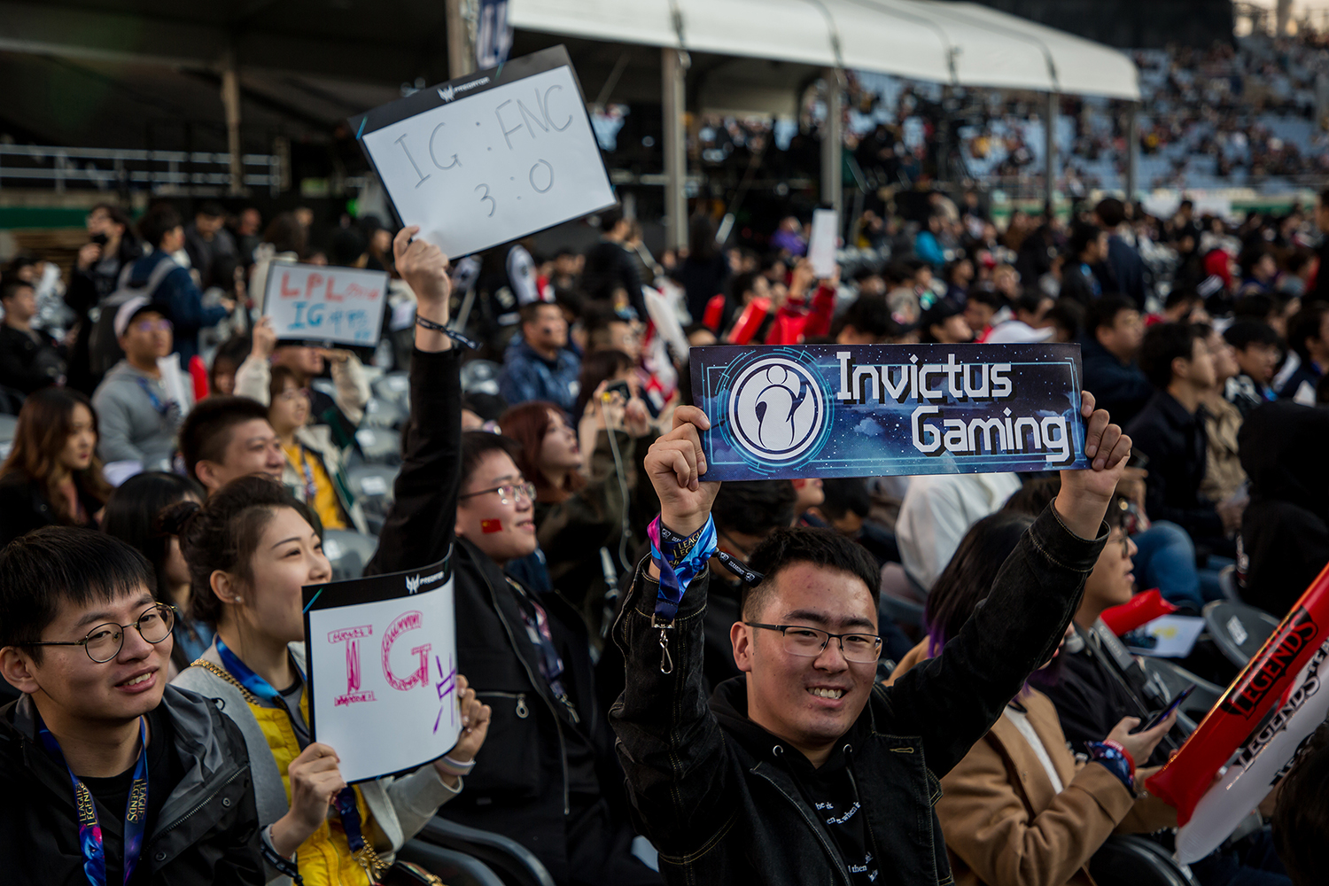 Fans waiting for the 2018 League of Legends World Championship Finals to begin, sponsored by Mastercard on November 3, 2018 in Incheon, South Korea.  Photo by Timo Verdeil/ESPAT Media for Mastercard