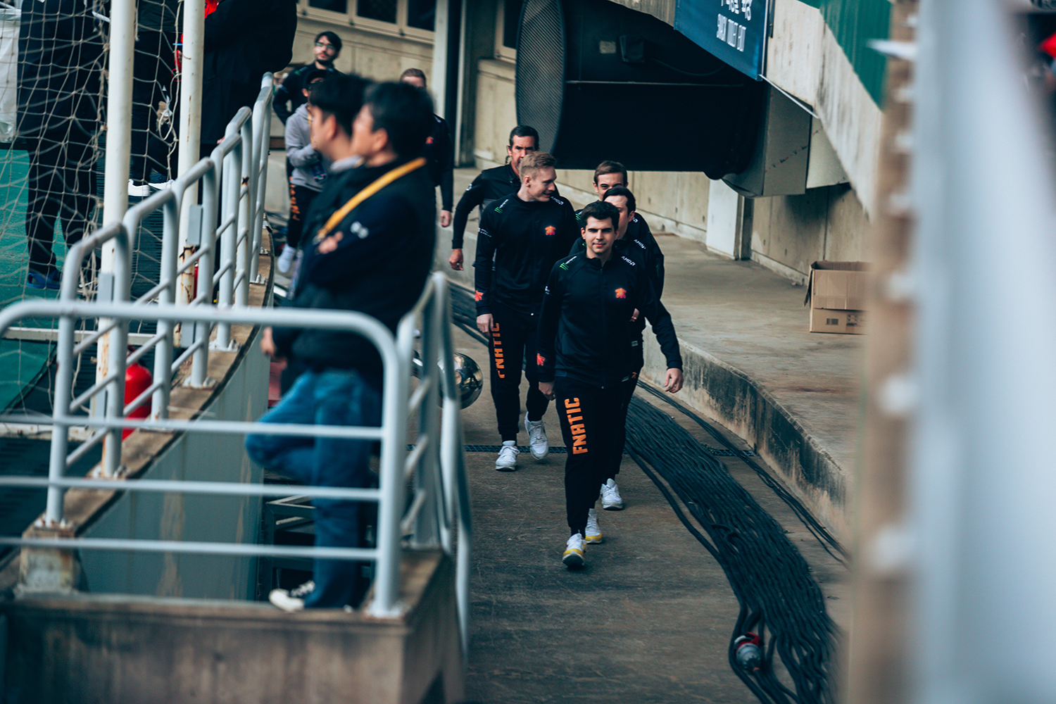 Team Fnatic entering stadium to face off with Invictus Gaming at League of Legends World Championship Finals to begin, sponsored by Mastercard on November 3, 2018 in Incheon, South Korea.  Photo by Timo Verdeil/ESPAT Media for Mastercard