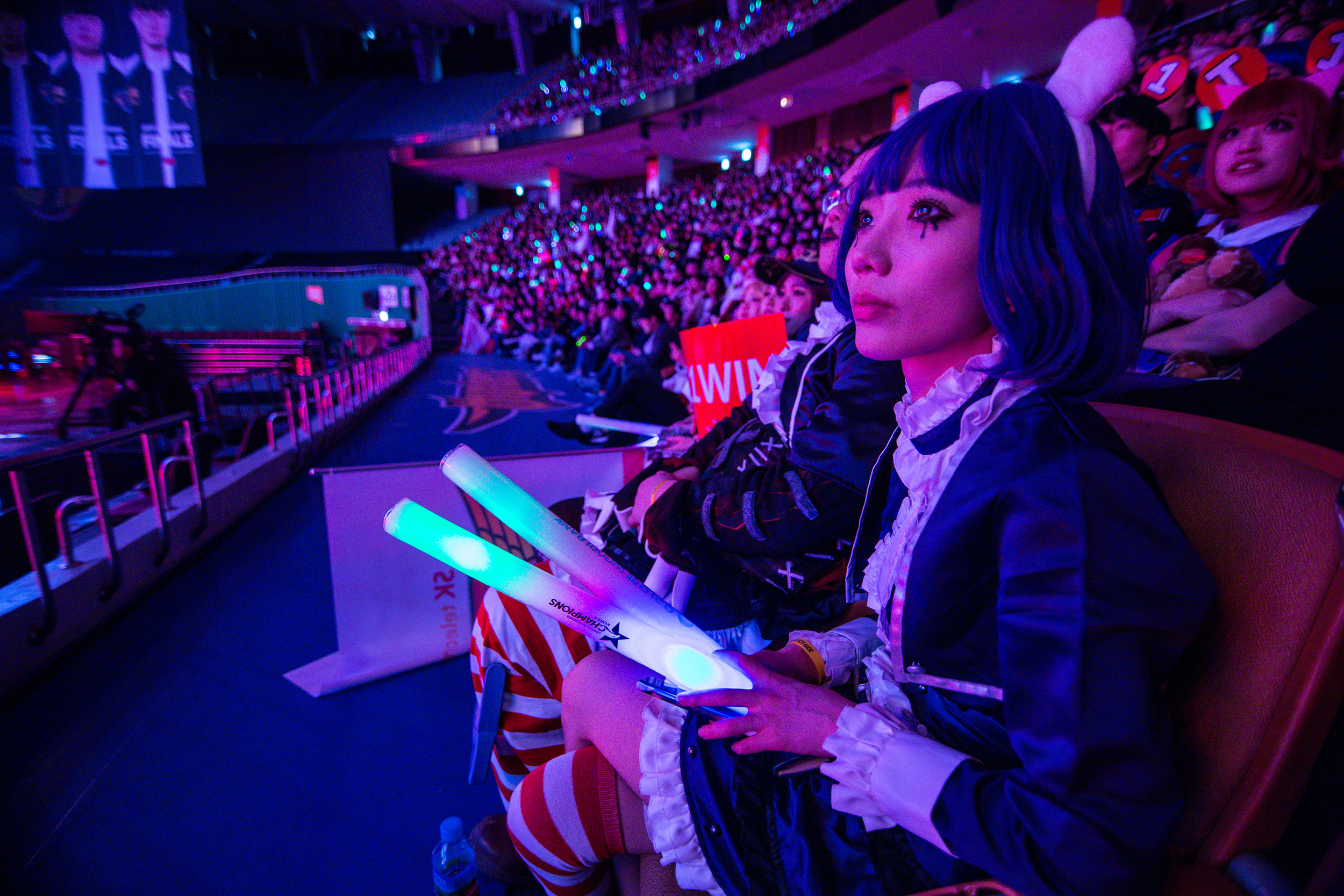 SEOUL, SOUTH KOREA - APRIL 13: Fan dressed in character watching SK Telecom T1 win 3-0 over Griffin at LCK Spring Finals at Jamsil Sports Center on April 13, 2019 in Seoul, Korea. Photo by Timo Verdeil/ESPAT Media