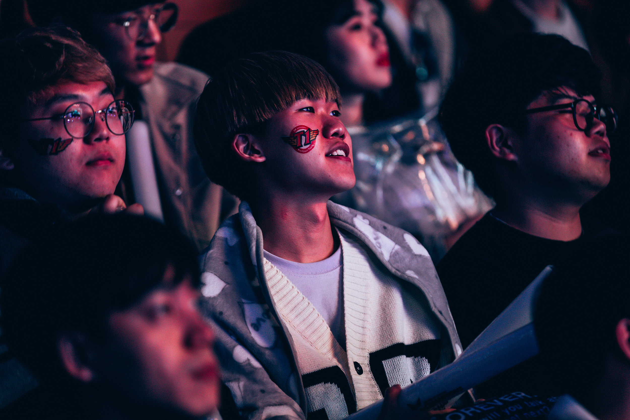 APRIL 13: Fan cheering on SK Telecom T1 as they win 3-0 over Griffin at LCK Spring Finals at Jamsil Sports Center on April 13, 2019 in Seoul, Korea. Photo by Timo Verdeil/ESPAT Media