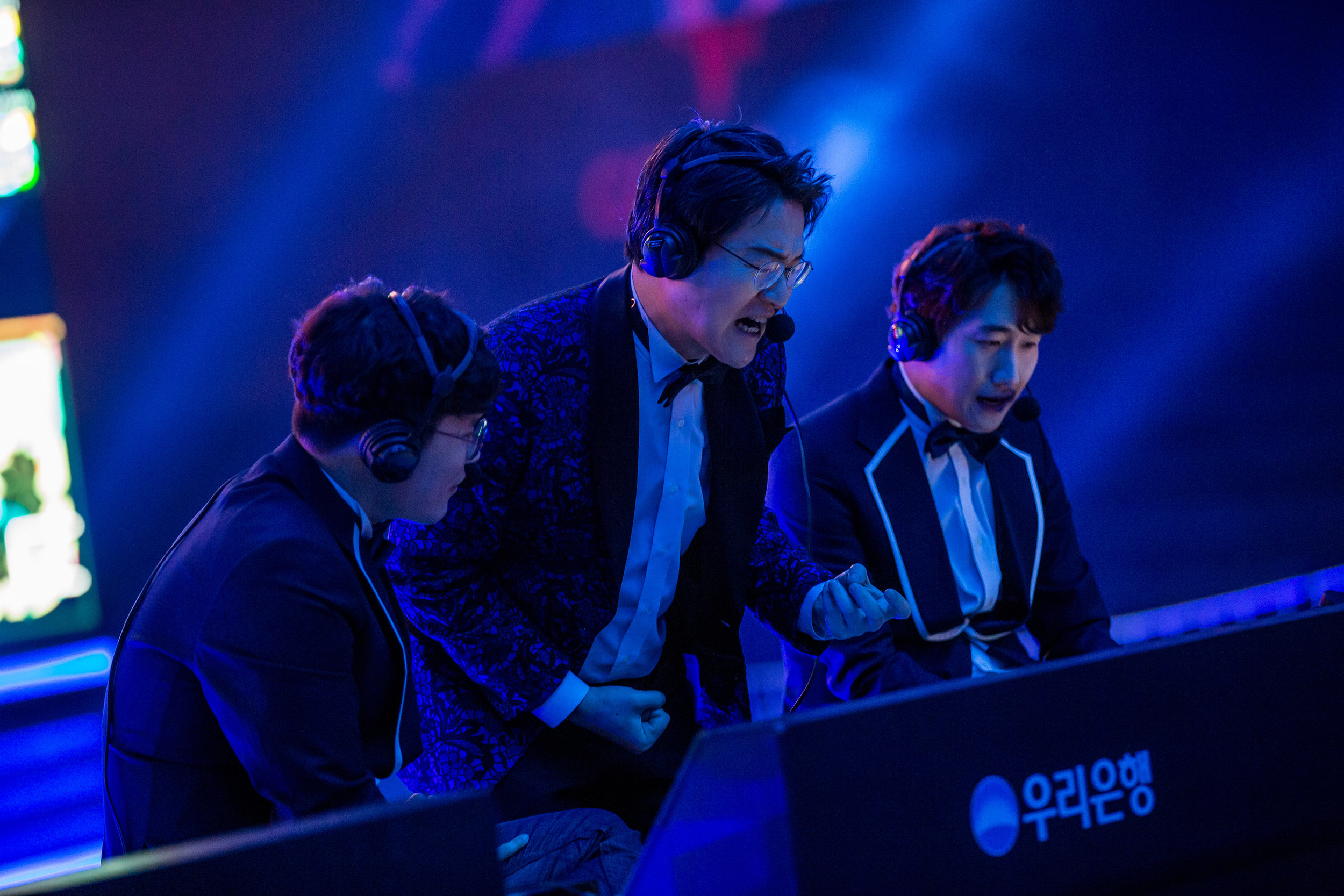 APRIL 13: Casters reacting to gameplay while SK Telecom T1 wins 3-0 over Griffin at LCK Spring Finals at Jamsil Sports Center on April 13, 2019 in Seoul, Korea. Photo by Timo Verdeil/ESPAT Media