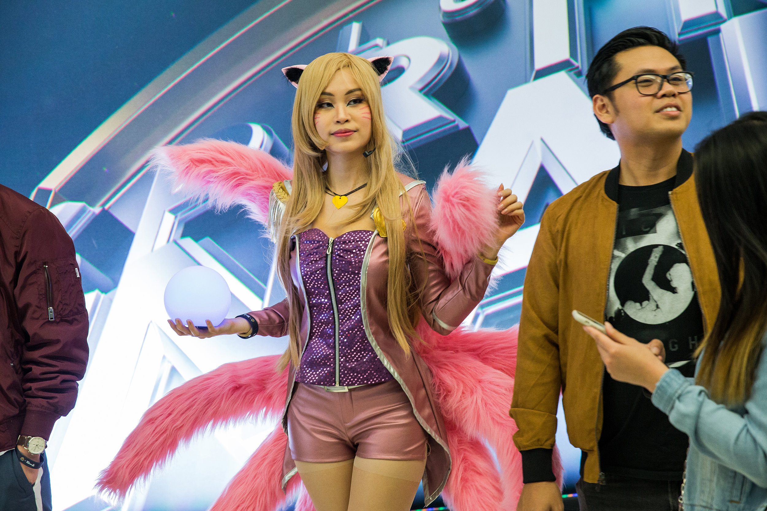 ST LOUIS, MO - APRIL 13: League of Legends character greeting fans at LCS Spring Finals at Chaifetz Arena on April 13, 2019 in St Louis, Missouri. Photo by David Doran/ESPAT Media