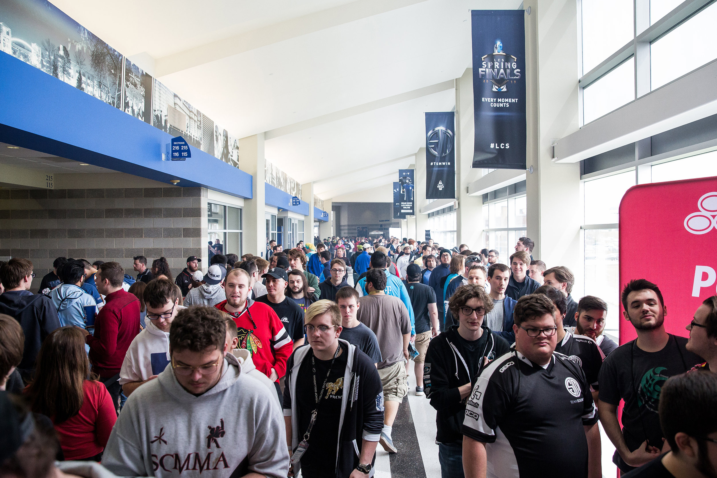 ST LOUIS, MO - APRIL 13: League of Legends fans entering venue at LCS Spring Finals at Chaifetz Arena on April 13, 2019 in St Louis, Missouri. Photo by David Doran/ESPAT Media