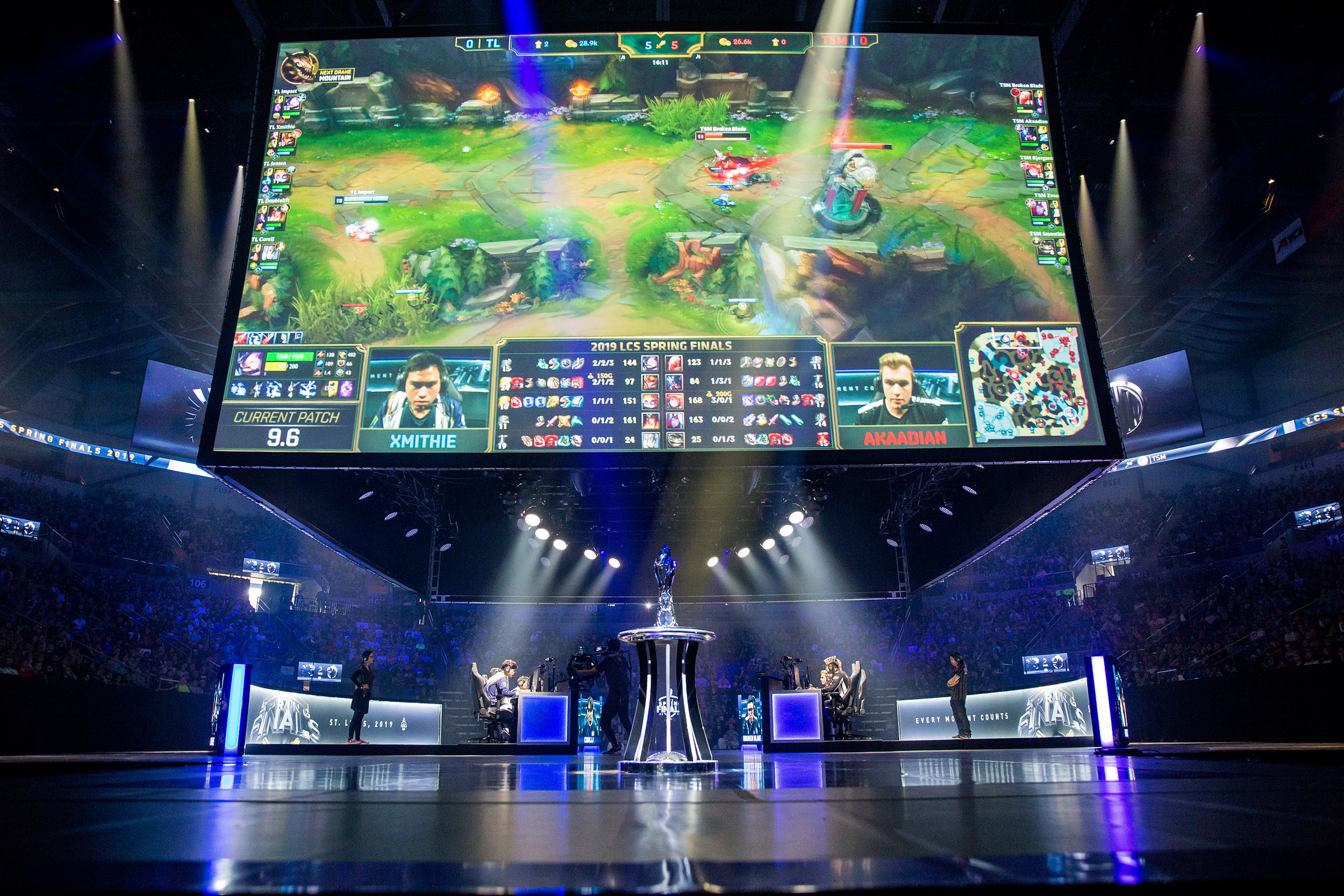 ST LOUIS, MO - APRIL 13: Full stage with screen and trophy at LCS Spring Finals at Chaifetz Arena on April 13, 2019 in St Louis, Missouri. Photo by David Doran/ESPAT Media