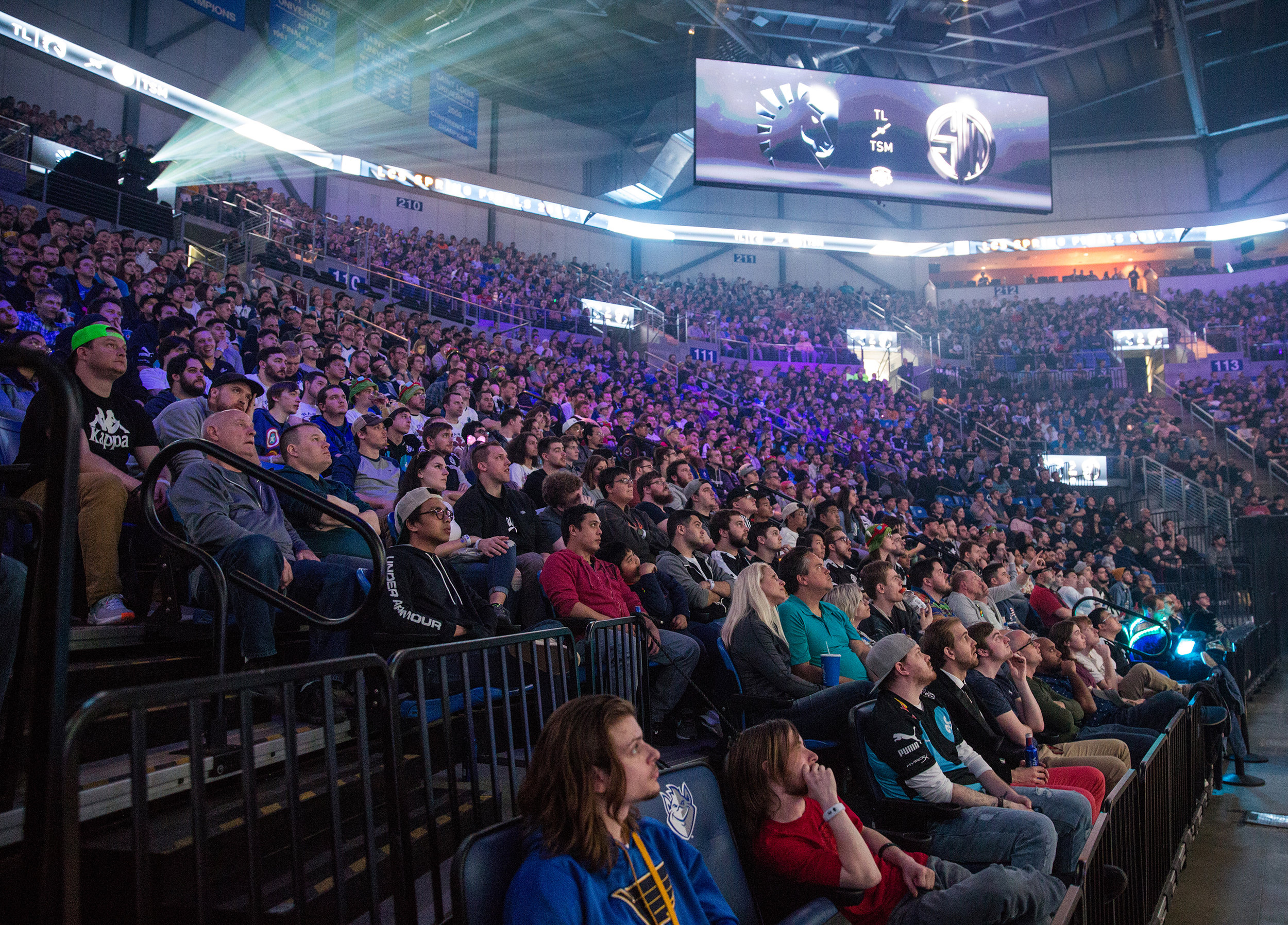 ST LOUIS, MO - APRIL 13: Crowd of fans mesmerized at LCS Spring Finals at Chaifetz Arena on April 13, 2019 in St Louis, Missouri. Photo by David Doran/ESPAT Media