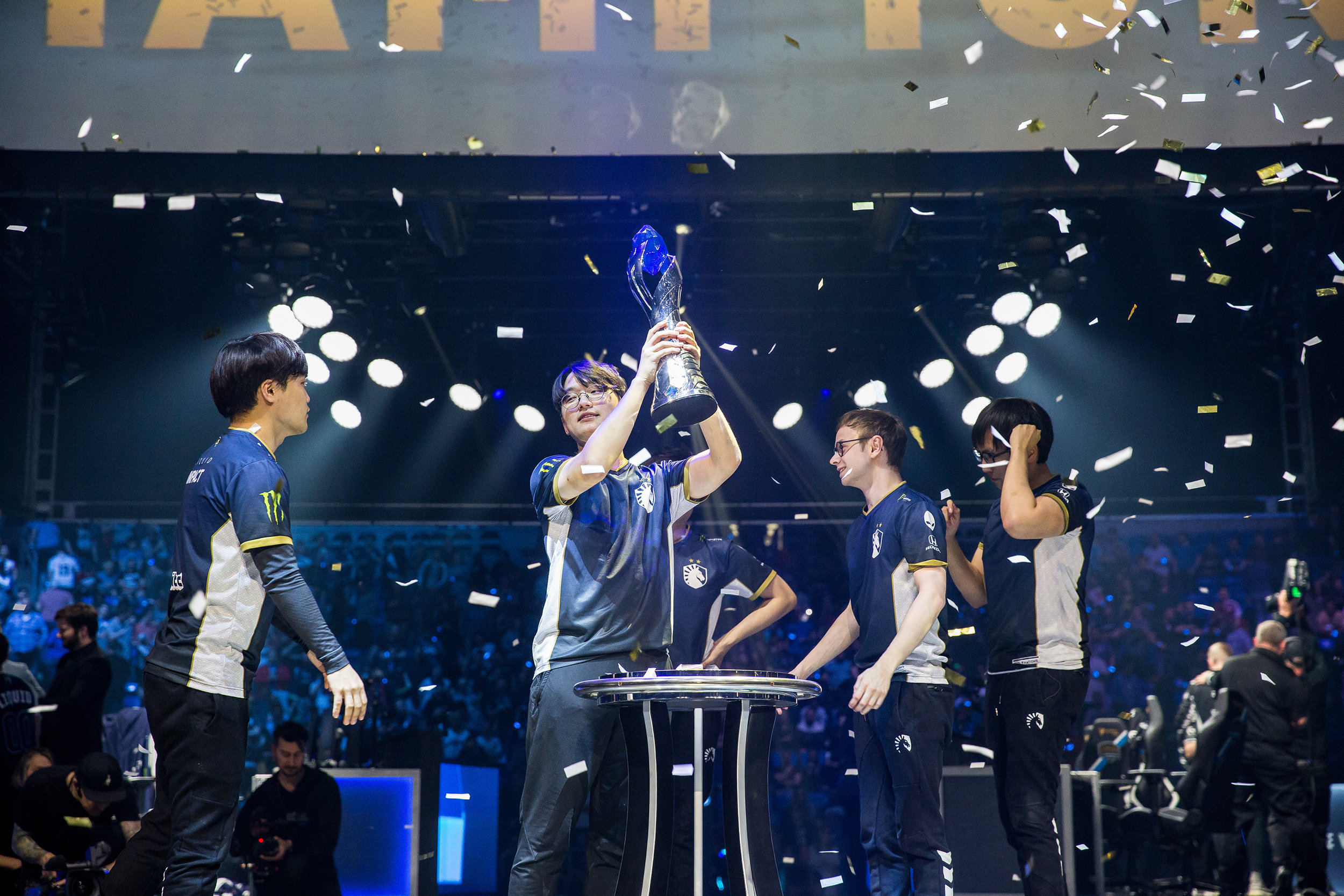ST LOUIS, MO - APRIL 13: Team Liquid hoist trophy after 3-2 win over Team SoloMid LCS Spring Finals at Chaifetz Arena on April 13, 2019 in St Louis, Missouri. Photo by David Doran/ESPAT Media