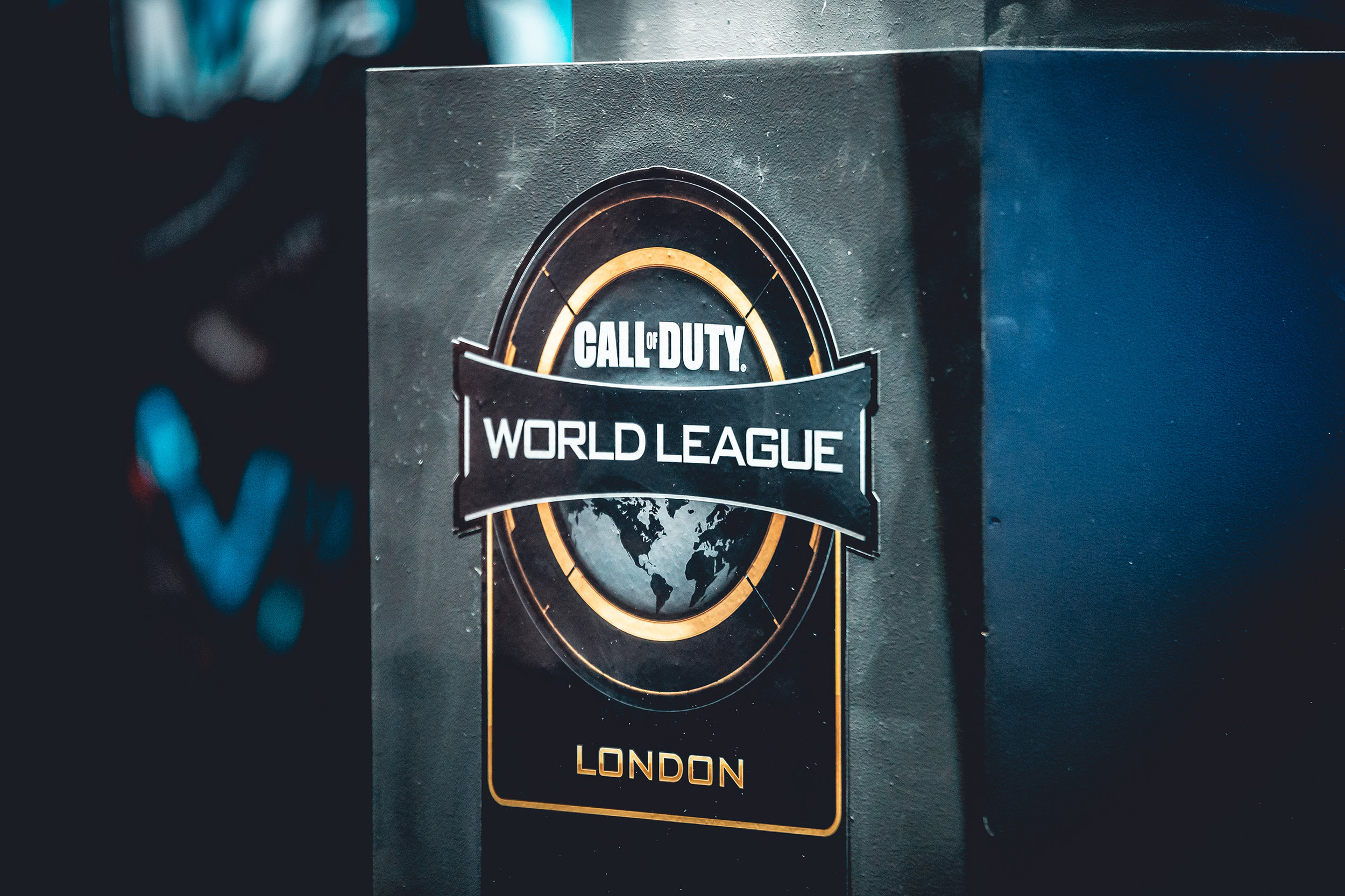 LONDON, ENGLAND - May 5, 2019: Call of Duty World League logo at Copper Box Arena on May 3, 2019 in London, England. (Photo by Joao Ferreira/ESPAT Media)