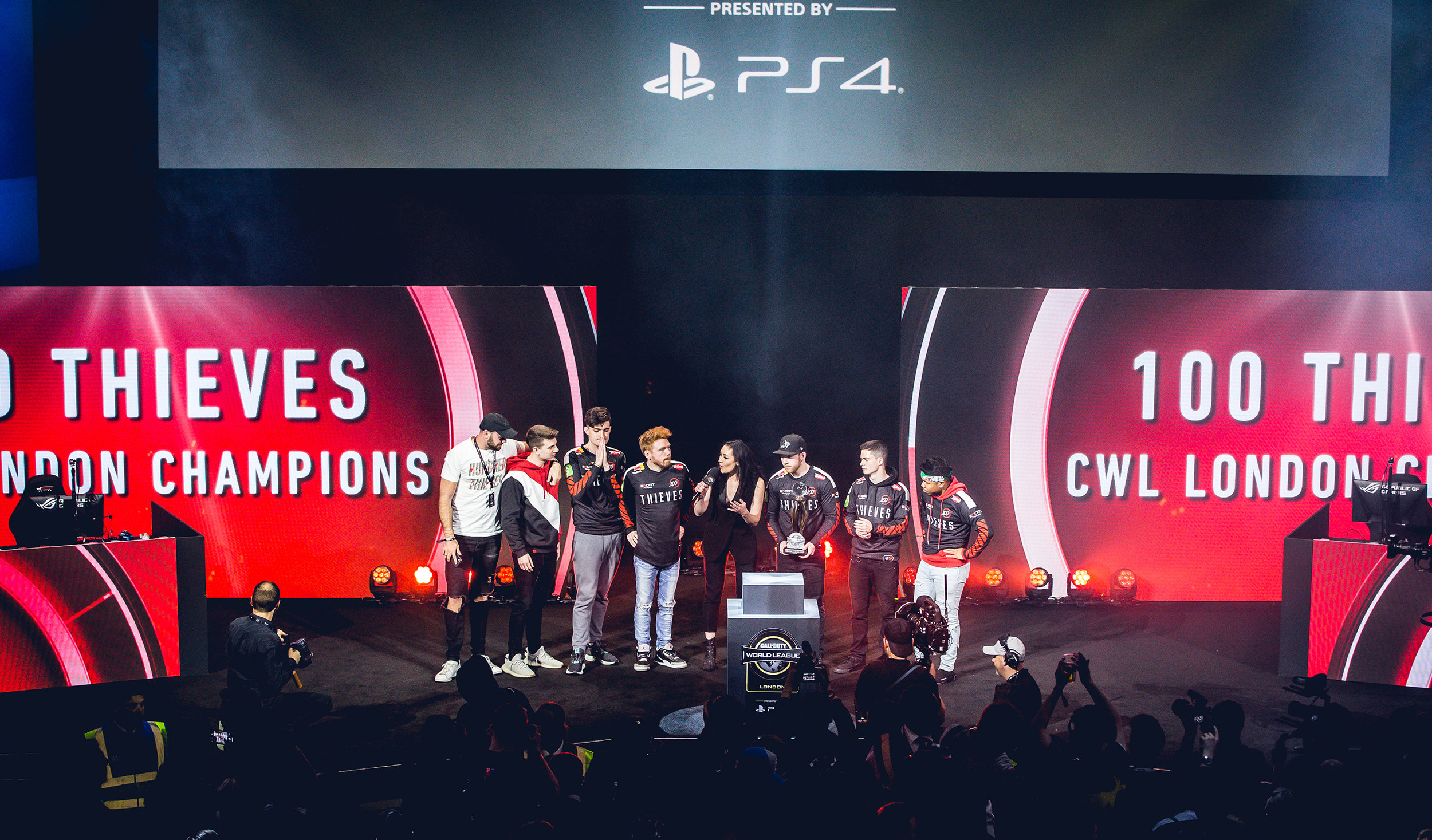 LONDON, ENGLAND - May 5, 2019: 100 Thieves onstage winning CWL trophy at Copper Box Arena on May 3, 2019 in London, England. (Photo by Joao Ferreira/ESPAT Media)