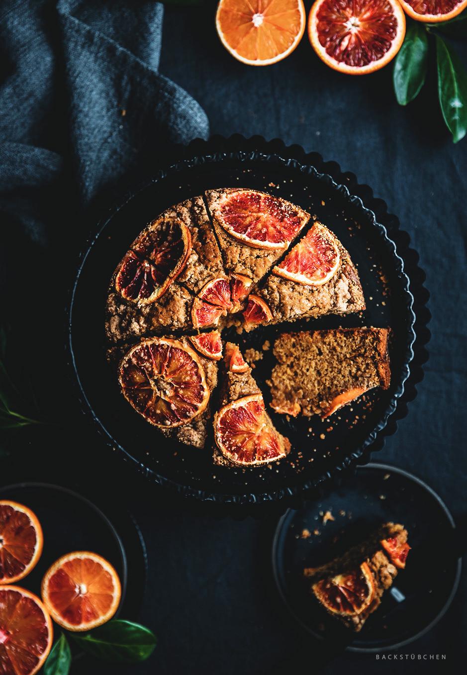 Blutorange-Streusel-Kuchen von Oben