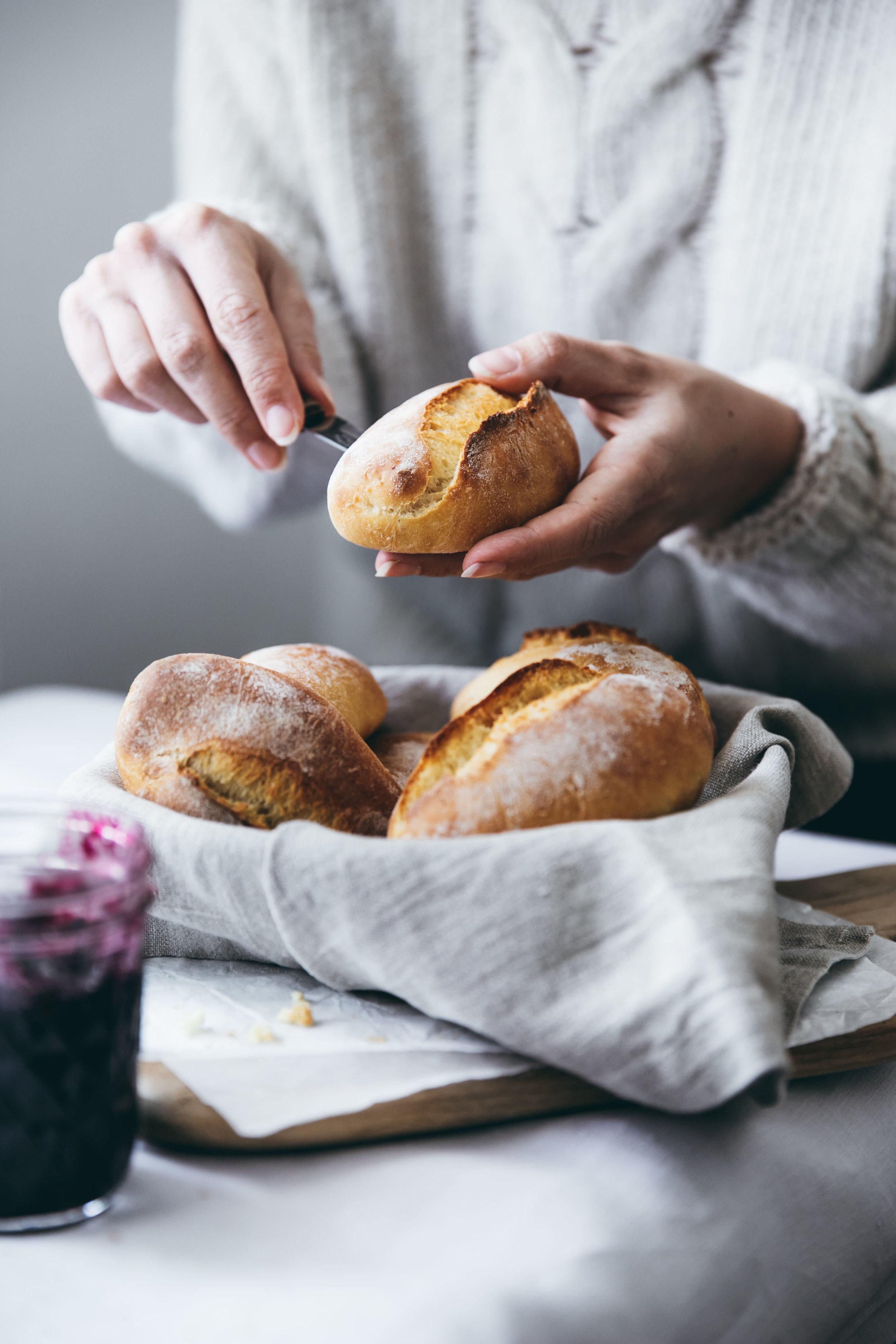Kartoffelbrötchen zum Frühstück oder Brunch.