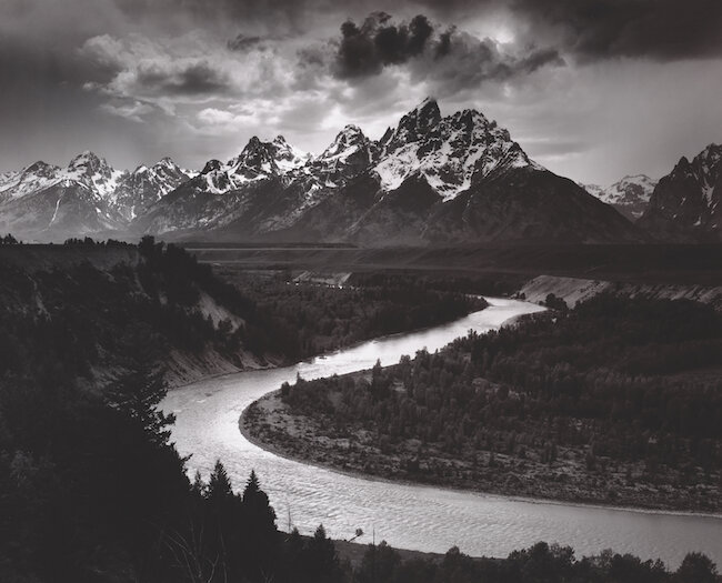 The Tetons and Snake River, Grand Teton National Park, Wyoming, 1942   Photograph by Ansel Adams  Collection Center for Creative Photography  ©The Ansel Adams Publishing Rights Trust