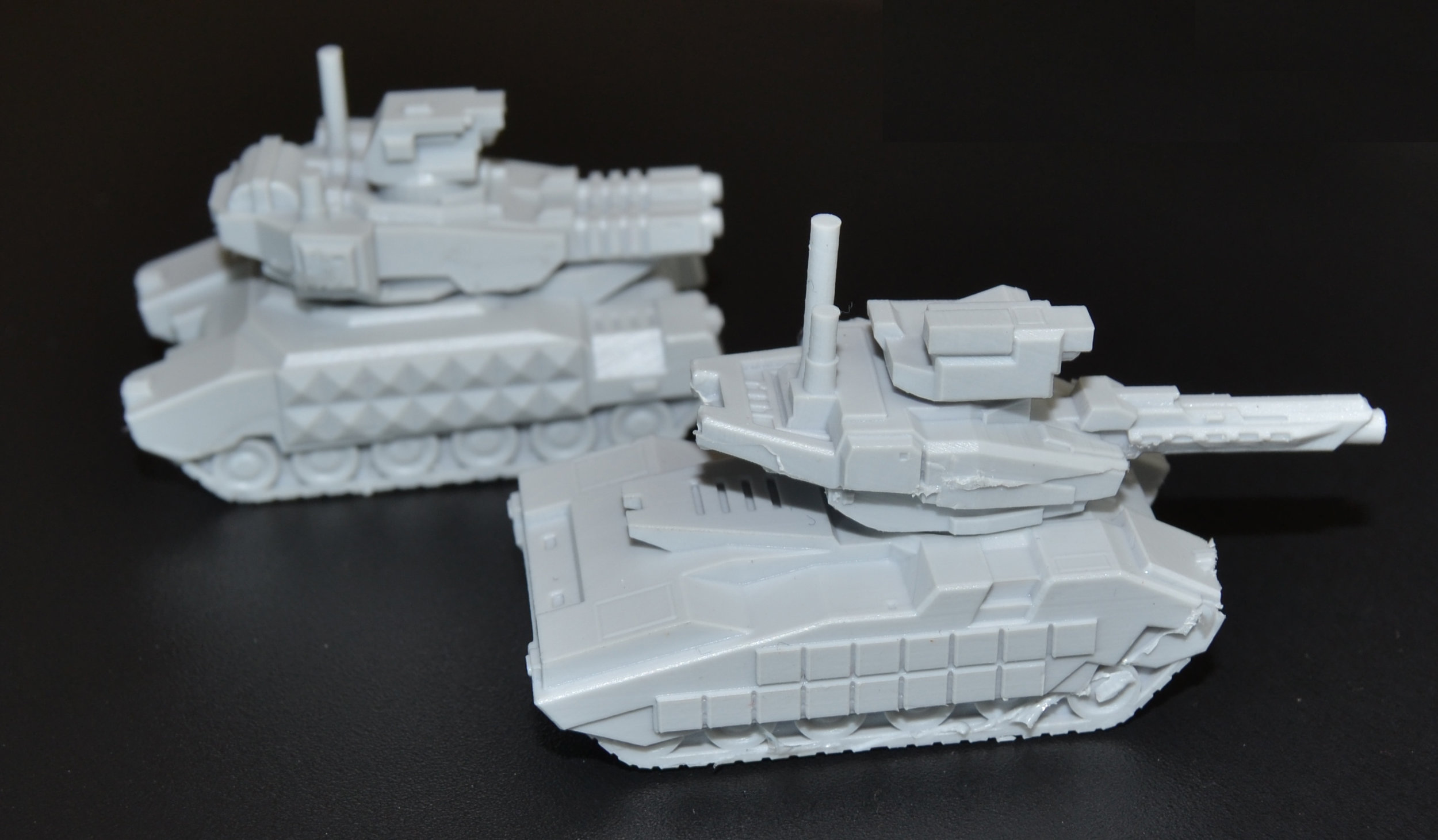 Wolf (back) and Rhino (front) tanks in resin