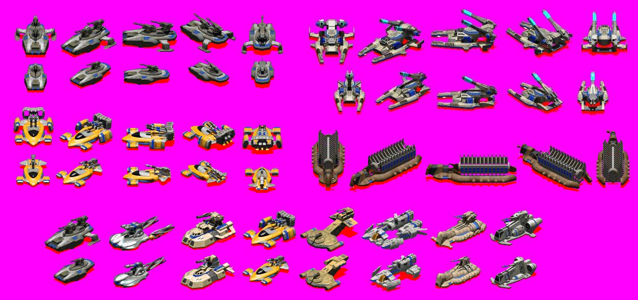 Spritesheets for various units I modeled