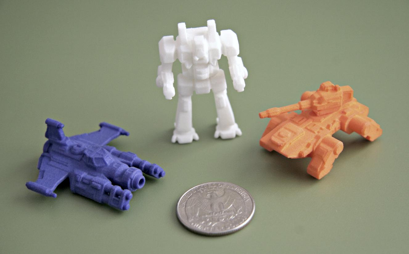 Prints in blue, white, and orange plastic