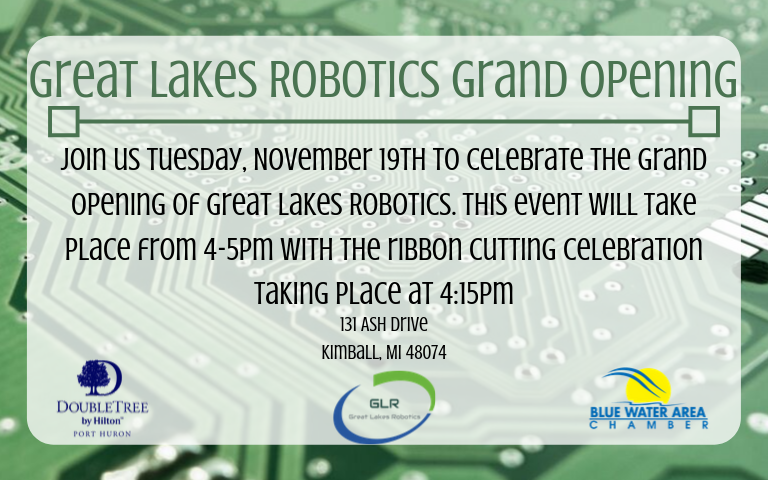 - November 2019: Great Lakes Robotics will be celebrating the grand opening of our new location in Kimball, MI on November 19th.