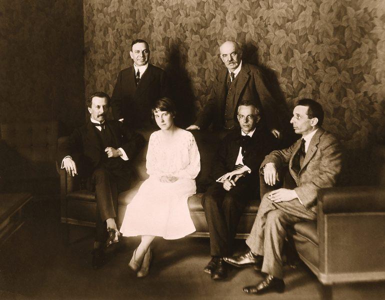 Theater photo: Egisto Tango (far right) with Banfy Nicholas, Desi Zador, Bartók Martha Ziegler, Kéméndy Eugene, Bela Bartok, 1918, Budapest, Hungary