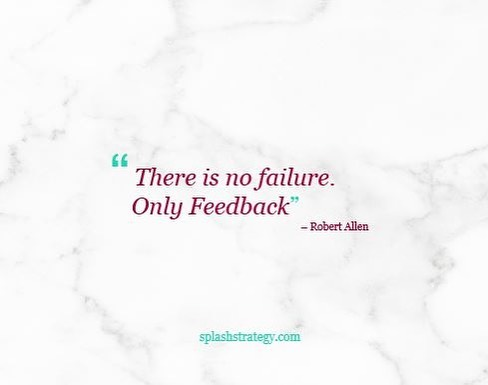 "Failure = Feedback ✨  When I think back on the transformative learning moments in my career and life, I find that they came from instances when things didn't go as I had hoped or planned... moments where I had ""failed"" at achieving what I set out to do. Can anyone else relate? I truly believe that if we allow ourselves to move past feelings of failure, we can find our greatest sources of feedback and learning.  Here is a key question to ask yourself when things don't go as planned - ""What is the lesson here?"""
