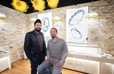 Garrett Chalmers, left, and Brad McCredie at Chalmers Jewelers' new east Madison location.  Photographs by M.O.D. Media Productions