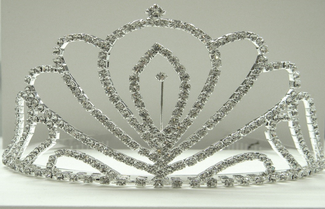 "Large Tiara: 3.3"" High, Clear Crystals on Silver Band - $18"