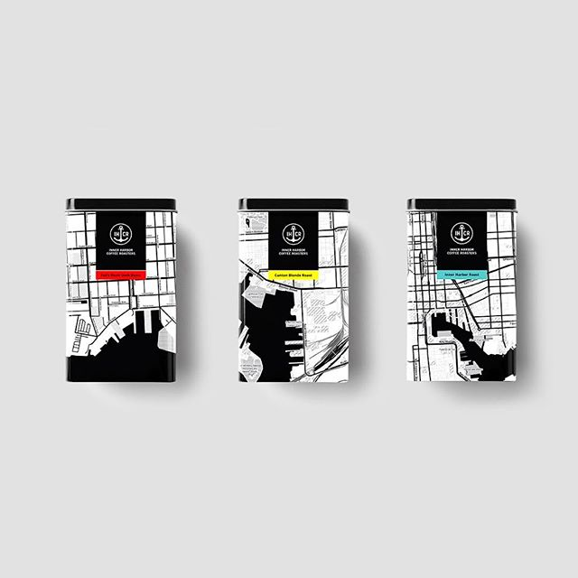 Packaging concept for Inner Harbor Coffee Roasters. Each flavor is based off a neighborhood in Baltimore. ☕️