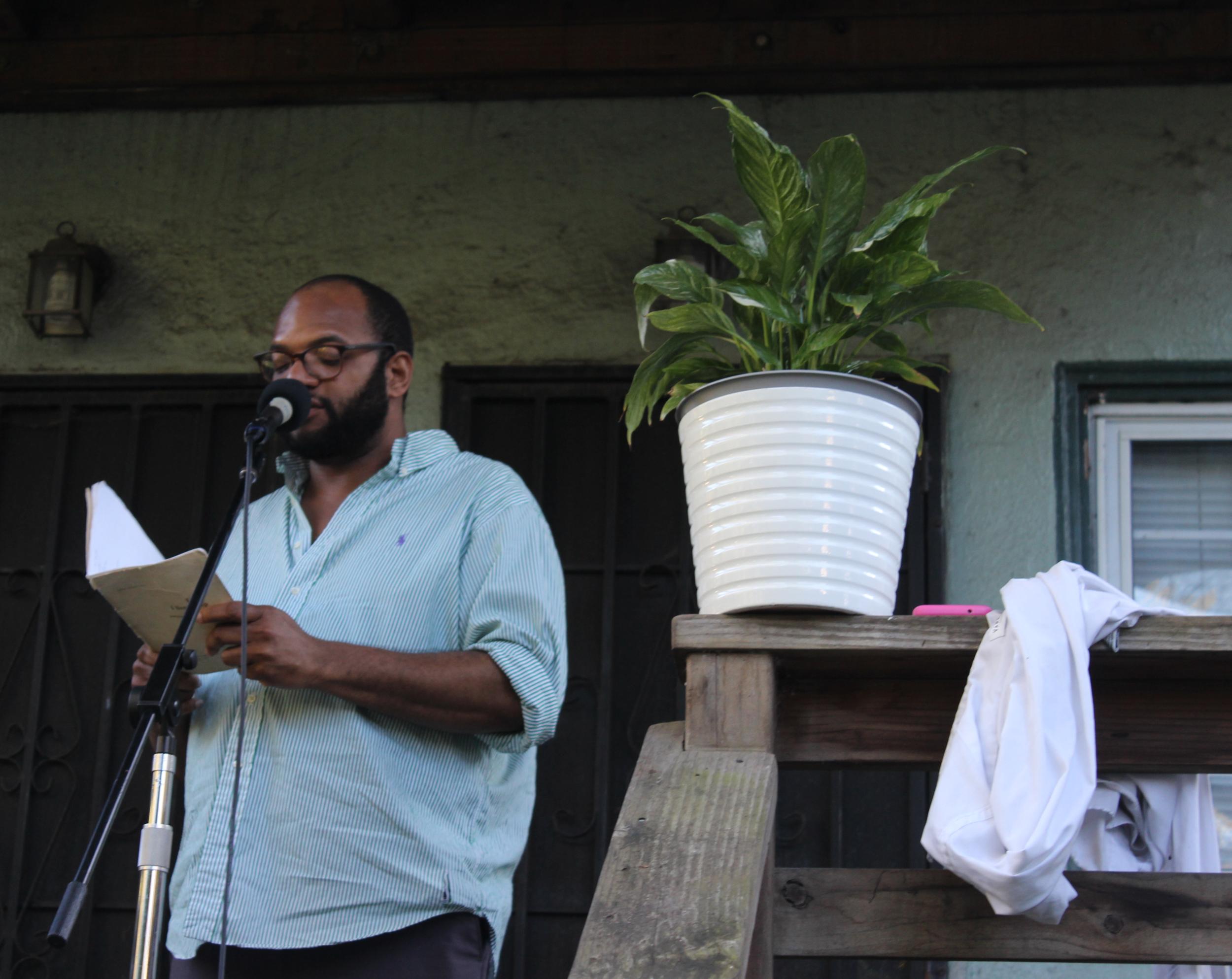 DeWayne Frazier Dickerson reads Poetry in the Oak Center Neighborhood of West oakland on march 16th 2019