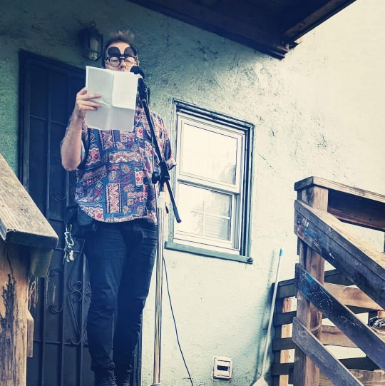 Julian Francis Park Reads Poetry on April 6th 2019 in the oak center neighborhood of west oakland, photo by Liv Max