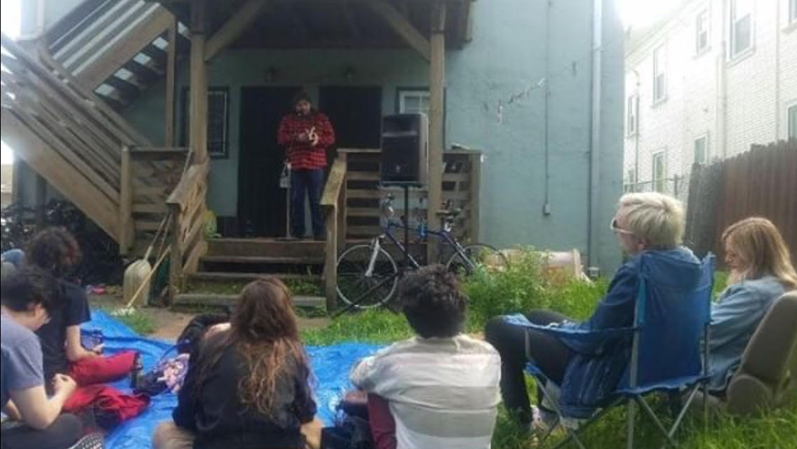 Javier O Huerta Reads Poetry in the Oak Center Neighborhood of West Oakland on April 6th 2019. Photo By Goldie Negelev