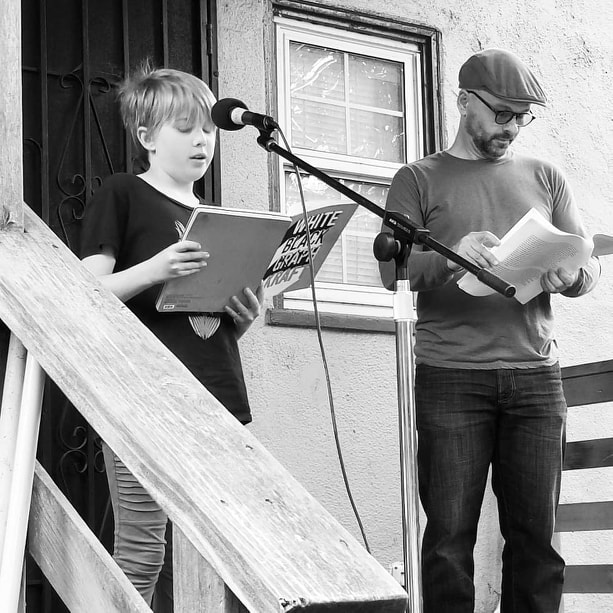 taylor Brady REads poetry in the Oak Center Neighborhood of West oakland on April 6th 2018. At the 12:50 mark in the recording, Laurel Evje-Karn reads a poem. Photo by Amy Evje.