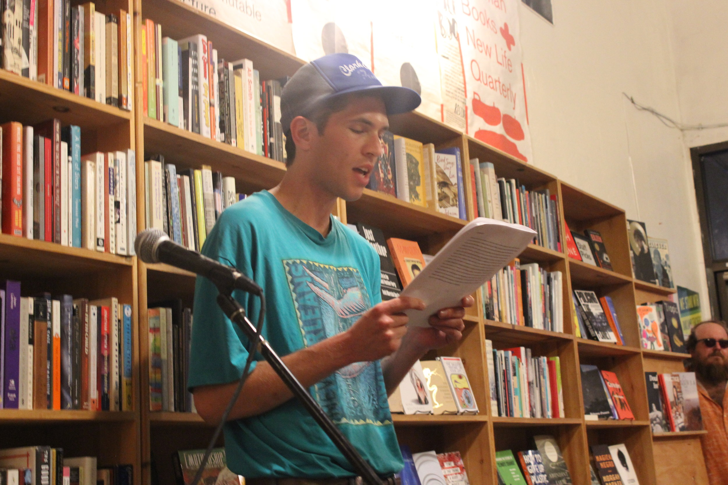 Peter Myers Reads poetry at Wolfman Books on August 14th 2019 in a reading hosted by Sophia Dahlin
