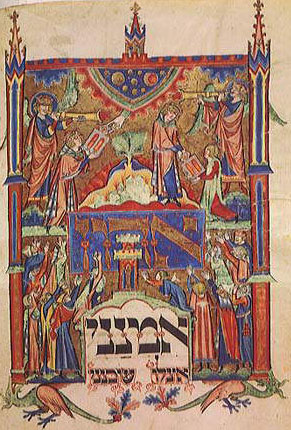 A medieval manuscript illumination depicting Moses's reception of the Ten Commandments, from a thirteenth-century Jewish prayer book made in Germany.