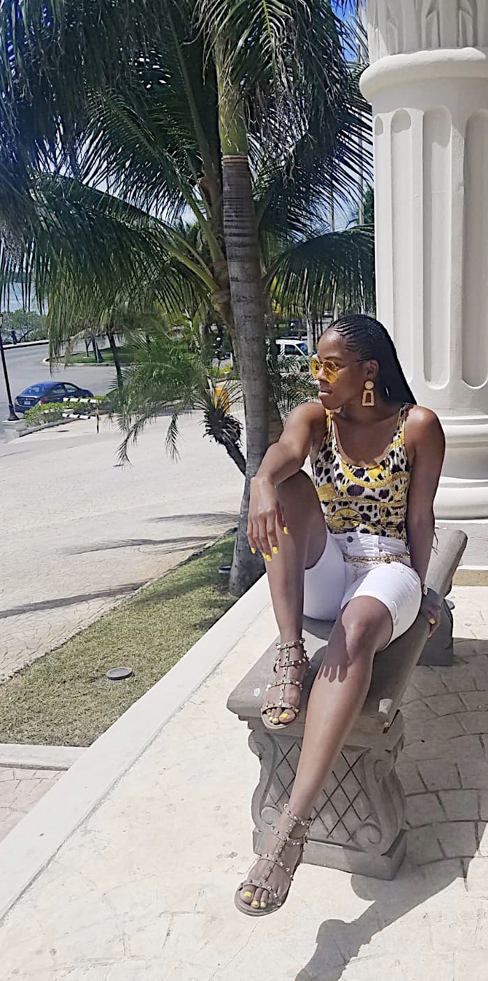 Moschino x H&M swimsuit / FashionNova shorts / Missguided sandals