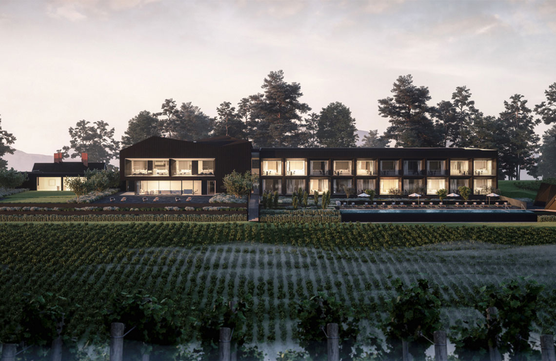 Jackalope Hotels nestled amongst the pristine vineyards at Willow Creek Winery.