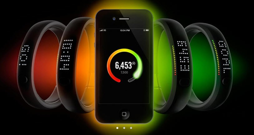 Nike Fuel Band connected to Apple iPhone.