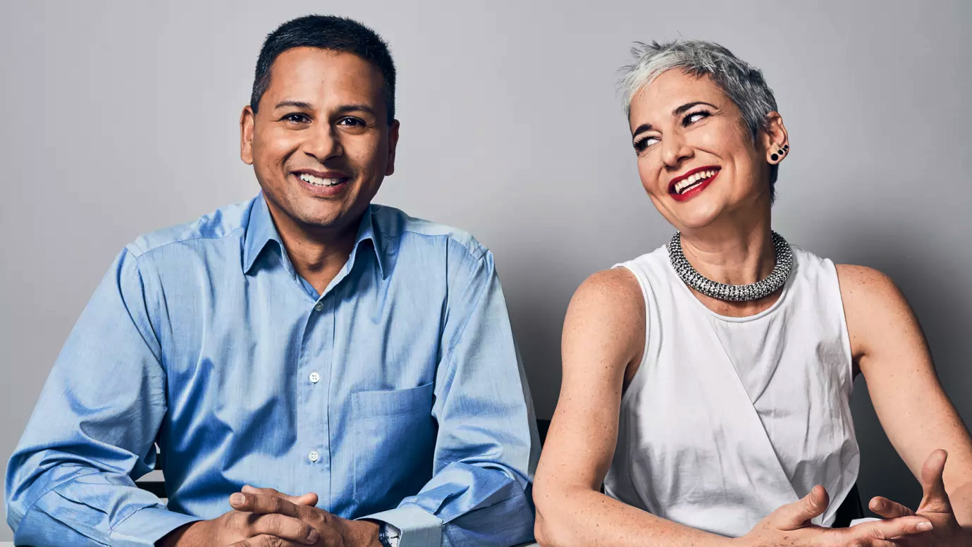 Dilip Kumar and Gianna Puerini, Amazon Go Executives. Photo:  Ian Allen
