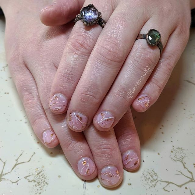 """💙 @tinameow82 - """"Had a nice time making plans with @hopecreationsig to start selling her jewelry in the trailer! These cute pink stone inspired nails look great with all her work. Check out her insta, she has a flash sale some of her rings today!"""""""