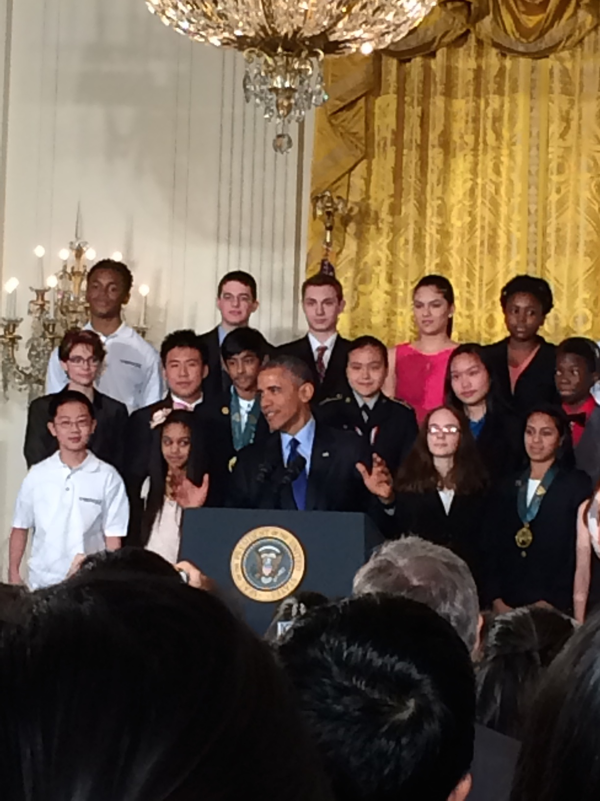 President Obama addresses the guests and exhibitors at the White House Science Fair
